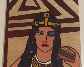 Egyptian Hamburger- Outsider, Folk Art, Original