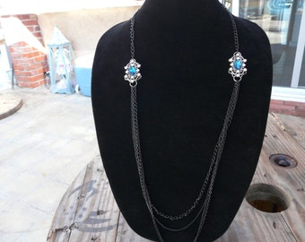 Titanic Blue Multiple Chain Necklace
