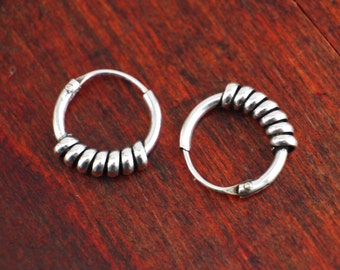 925 Sterling Silver Earrings - Bali Huggie
