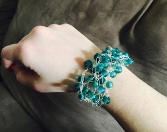 Green Glass Beaded Wire Crochet Bracelet