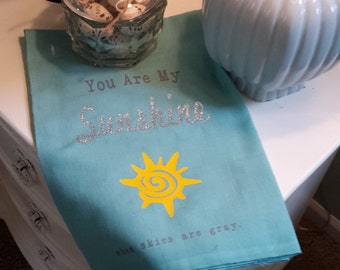 Teal, Yellow, and Glitter Kitchen Towel