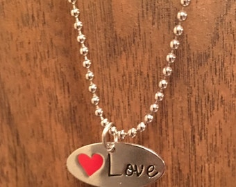 Handmade Love Stamped Charm and Necklace