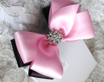 Girls Hair Bow with Sparkle in Light Pink and Black, Flower Girl, Pageant Bow