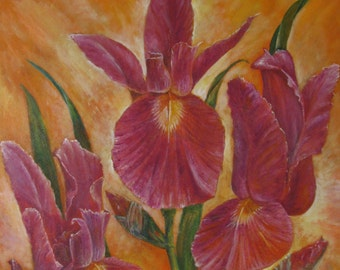 Irises, original oil painting on canvas