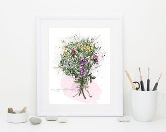 Flower bouquet illustration / Wildflowers Poster / Art Print / Wall Art / Rustic / Cottage / Chic / Boho