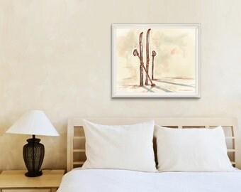 "Art Print / ""Post-ski"" illustration / Skis / Red and cream / Large sizes / Wall art"