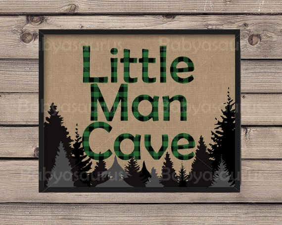 Little Man Cave Wall Art : Little man cave rustic lumberjack green plaid wall by