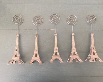 5 SILVER Eiffel tower card holders place card holders picture display party favor