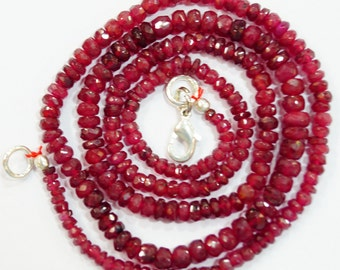 natural gem stone ruby faceted beads complete necklace top quality 76 carats 19 inches 2 to 4 mm