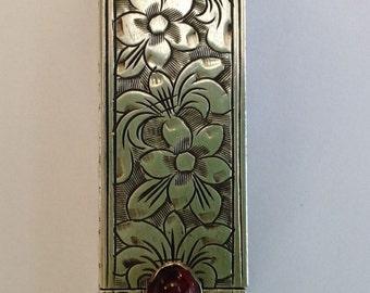 Art Deco Silver/gemstone lipstick case