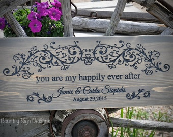 Wedding Sign Happily Ever After, rustic wooden sign