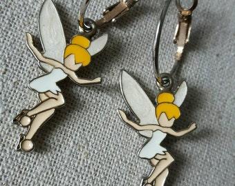 Small Tinkerbell earrings, enamel on metal, free worldwide shipping
