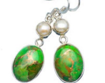 Green Copper Turquoise, Pearl Stering Silver Earrings