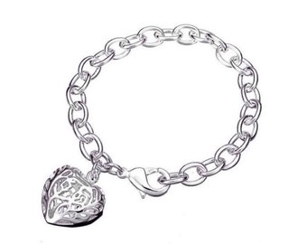 Silver Chunky Hollow Heart Bracelet