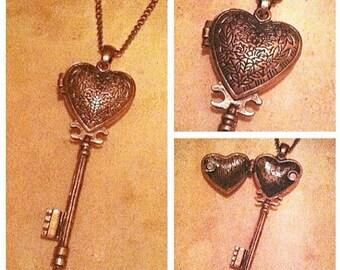Bronze Heart Key Locket