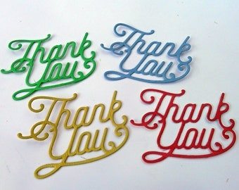Die Cut Cardstock Thank you Word Sentiment Embellishments, Cards, Scrapbooks, Gifts, Tags, Decorations