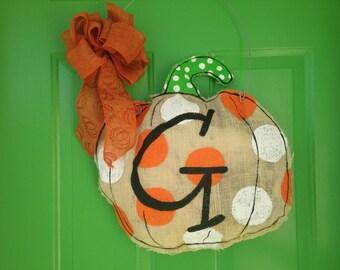 Burlap Pumpkin Door Hanger/wall decoration//housewarming gift