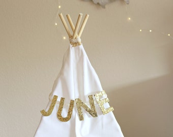 Gold Sparkle Name Bunting, Personalize With Your Name, Teepee Custom Name Banner (MADE TO ORDER)