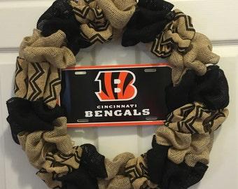 Cincinnati Bengals burlap wreath, bengals wreath, cincinnati bengals wreath, **FREE SHIPPING!!**