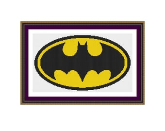 Counted cross stitch pattern Batman Logo,Instant download PDF