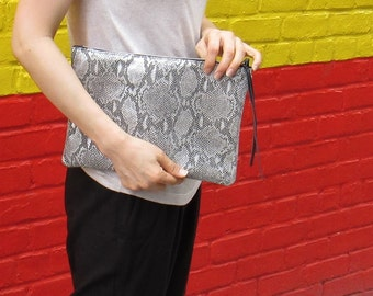 Python Leather clutch; Leather python embossed clutch; Python Clutch,over clutch