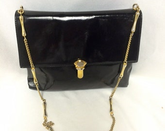 Beautiful, Vintage Susan Gail, Black, Genuine Patent Leather Purse with Gold/Silver Chain & Clasp