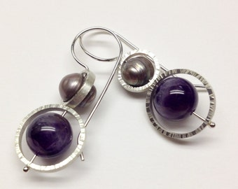 Sterling silver earrings with amethyst and freshwater pearls