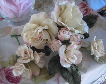 Velvet flower ivory cream for hats, bridal, saches, table decor, Lampshades