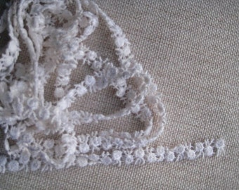 Lace Trim 2 yards white tiny roses for scrapbooking, cards, hair accessories