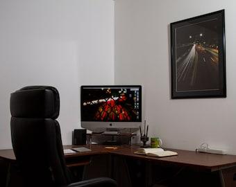 Fine Art Long Exposure Photography Framed Photograph in NYC, Light Trails, Stars, Bridges, Highway, New York
