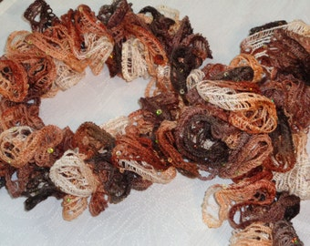 Crocheted Short Ruffled Scarf - Only 33 Inches in Shades of Brown, Brunt Orange,& Peach.