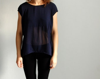 Dark blue transparent top