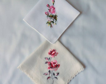 Two 1950's Embroidered Handkerchiefs/Hankies - Pink Roses on White Hankies - One has Original Label  Lady Heritage and Made in Switzerland