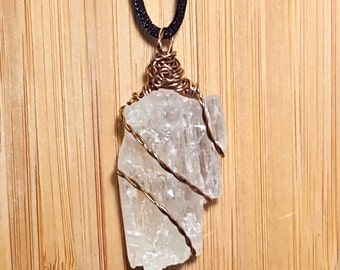 Reiki-Infused, Raw Clear Hiddenite, wire-wrapped necklace