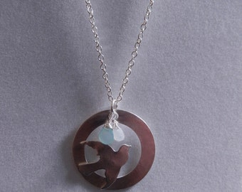 Silver Dove and Circle Necklace