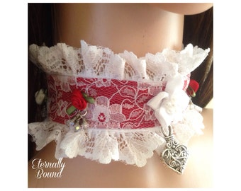 SALE! BDSM Wedding/Collaring Ceremony submissive collar,red,white,lace,crystals,roses,ribbons,metal heart charm,princess,slave,pretty,kinky.