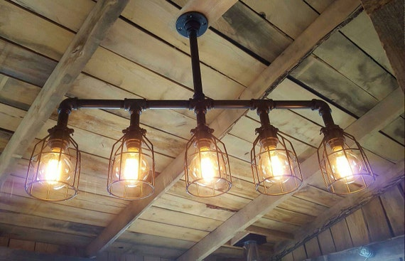 Rustic industrial lighting chandelier edison bulb iron pipe for Pipe ceiling lighting