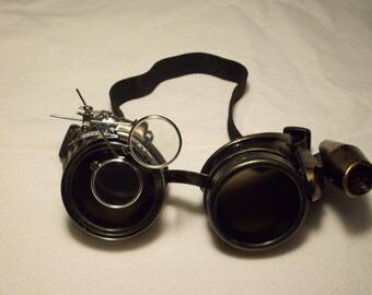 Steampunk goggles, duel loop goggles, steamgoth, edwardian, neo victorian