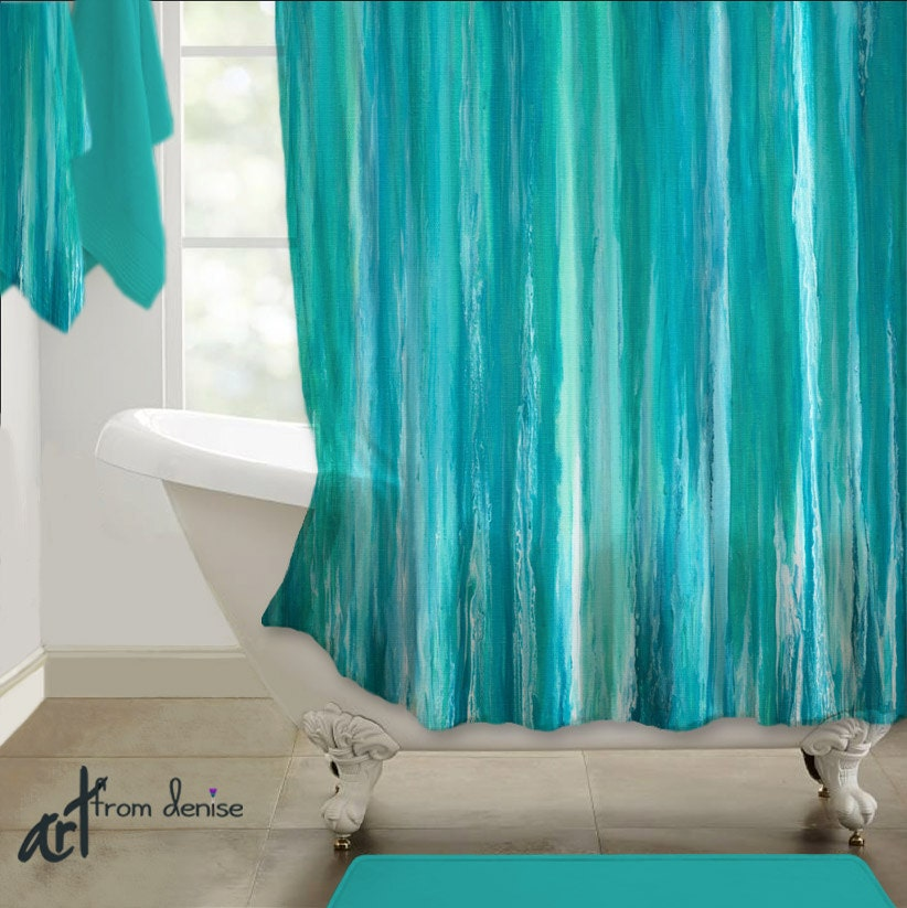 Shower curtain teal turquoise aqua blue abstract art design for Teal coloured bathroom accessories