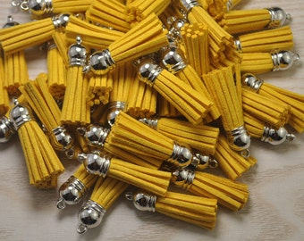 Tassels 1.5'', 20pcs Mini Tassel Craft,Golden Yellow Suede Tassel Accessories,Fringe Tassels,Faux Leather Tassels,Silver Cap Tassel (38mm)