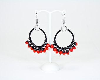 Ethnic earrings red and black seeds