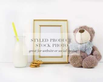 Nursery Styled Stock Image-Children stock photography-Teddy bear stock photo-Milk and cookies stock photography-By Whitecottagedesignco