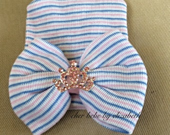 Hospital Newborn princess tiara Beanie, nfant, pink/blue/white striped hat with bow, pink bling tiara Hospital Hat