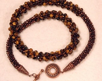 Kumihimo necklace, tiger eye, gemstones