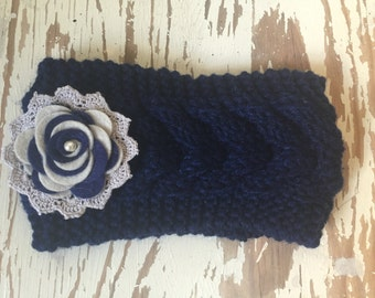 Ladies Knitted and Embellished Earwarmer / Headwarmer in Navy and Grey