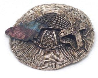 Stunning Signed Vintage Estate China Fishing Farm Hat Brooch