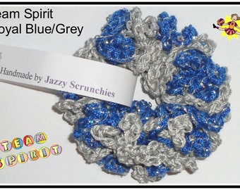 T17# Blue and Gray Scrunchie, blue, grey, team spirit