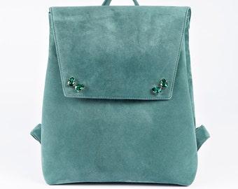 EMERALD SUEDE BACKPACK, green backpack, backpack with swarovski, green leather backpack, suede backpack, green suede backpack