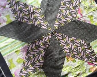 Bird Flower Butterfly Quilt - Baby Blanket- Handmade Quilt- Grey Pink Quilt - Unique Print - Shower Gift - Crib Quilt - Patchwork Quilt