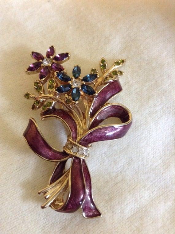 Flowers rhinestones and enamel brooch